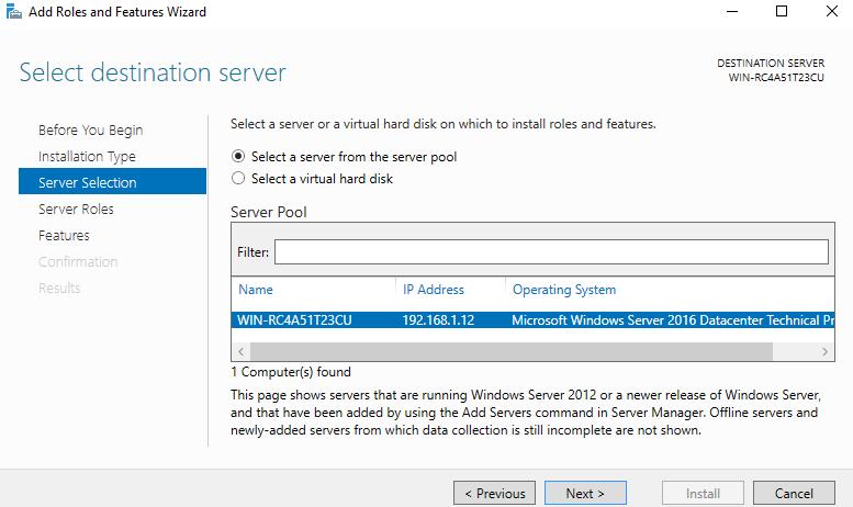 انتخاب سرور در نصب IIS برور یوندوز 2016