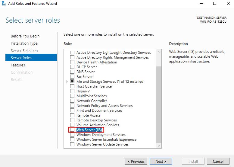 Add Features installation IIS windows 2016