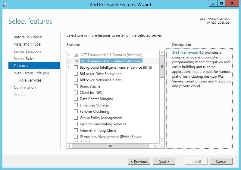 مراحل نصب IIS بخش Features
