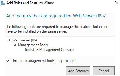 Add Features installation IIS windows 2016-2