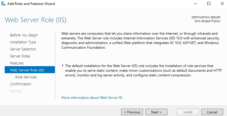 web server rules (IIS) windows 2016