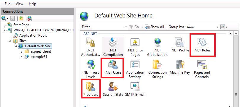 نمایش ماژول ASP.NET Administration