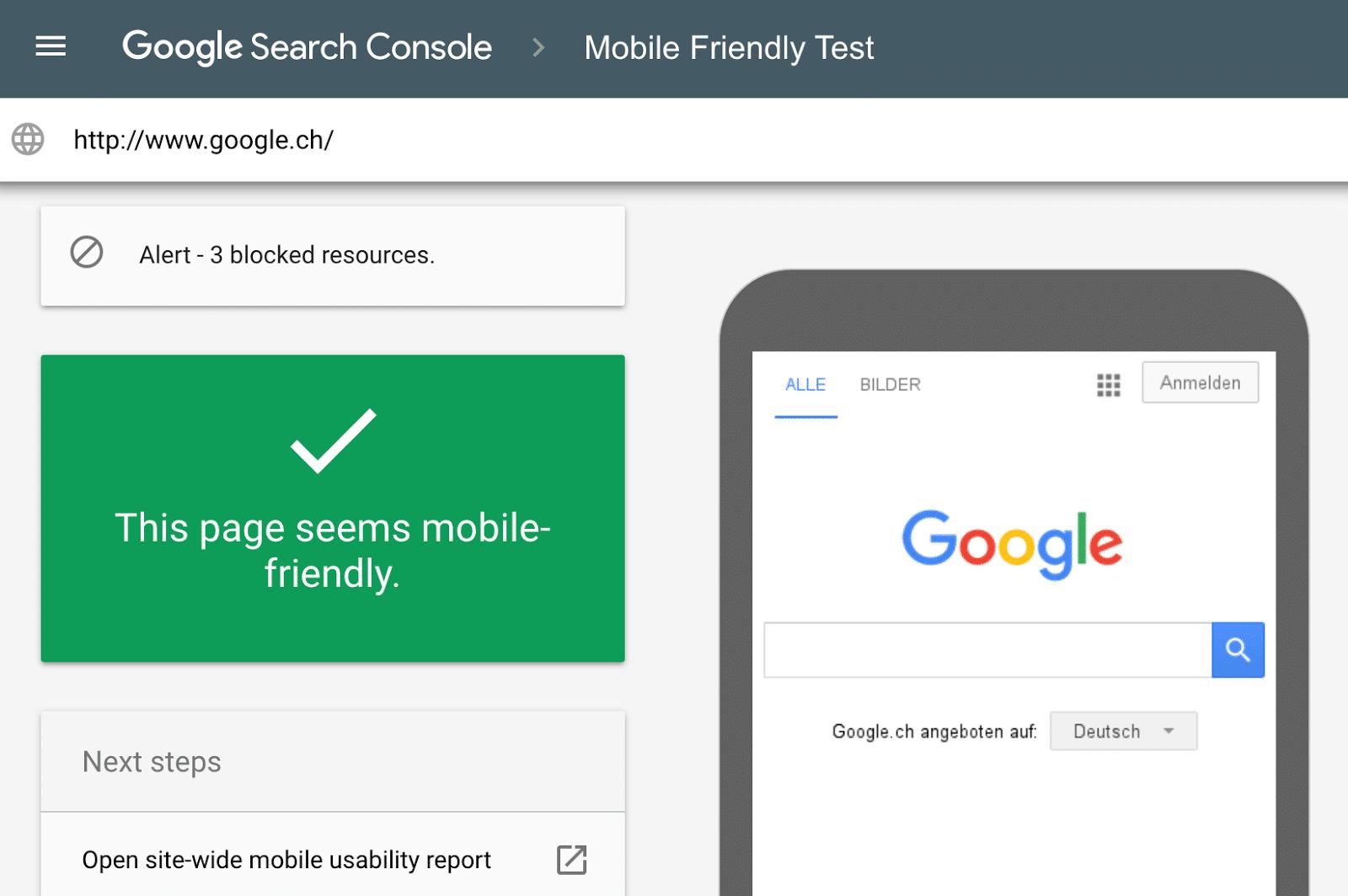 استفاده از ابزارهای Google mobile-friendly test