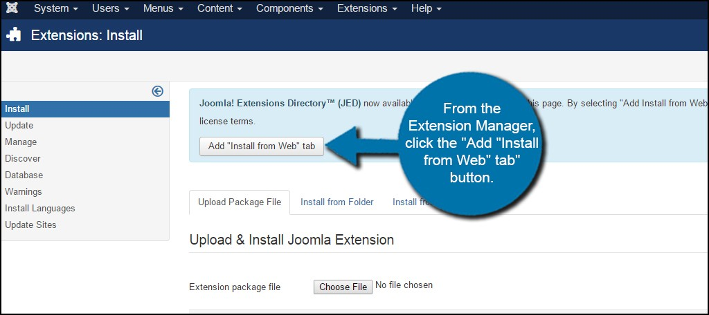 افزودن تب نصب افزونههای جوملا از وب
