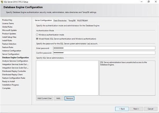 تعیین روشهای دسترسی و کاربر مدیر برای SQL Server