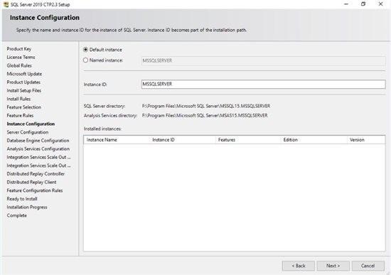تعیین نام در طی فرایند نصب SQL Server 2019