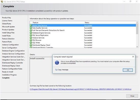 تکمیل نصب SQL Server