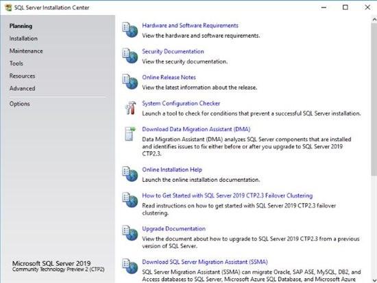 پنجره شروع نصب SQL Server 2019