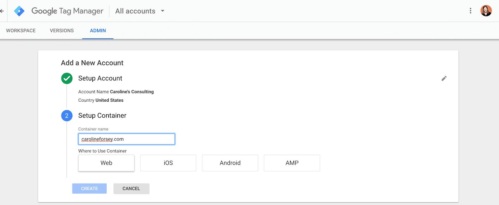 ثبت نام یک حساب کاربری در GTM