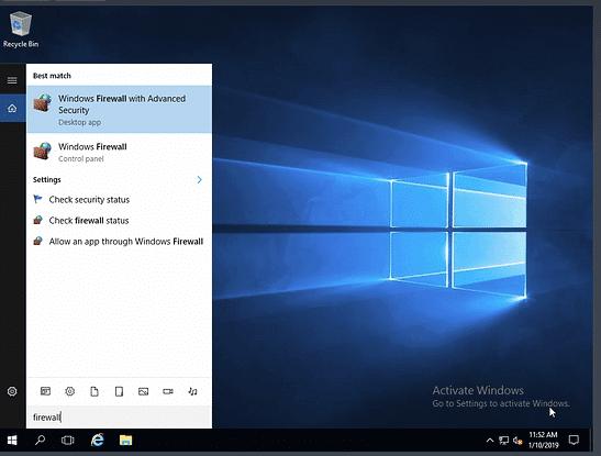 نحوه پیدا کردن windows firewall with advanced security در ویندوز سرور