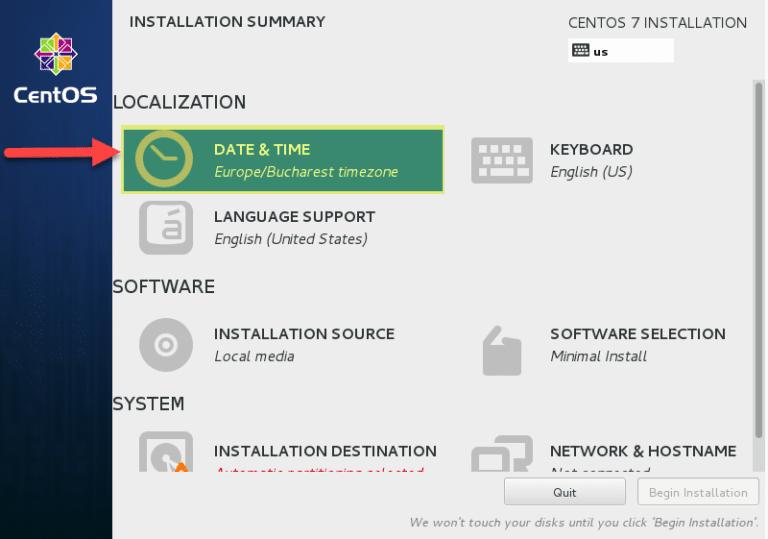 تغییر اطلاعات سرور در زمان نصب و راه اندازی centos