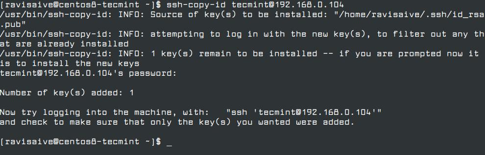 زمانی که SSH key ساخته شده، باید public key ایجاد شده را را دستور ssh-copy-id، و دسترسیهای سرور ریموت همانند زیر، کپی نمایید.