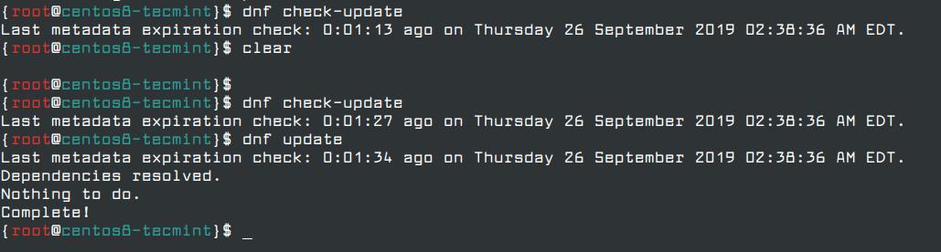 آپدیت نرم افزار سیستم در تنظیمات اولیه centOs 8