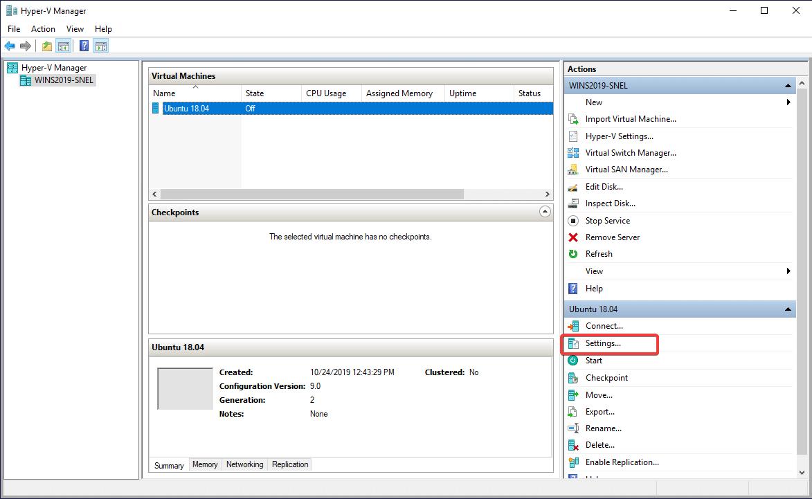 تنظیمات ماشین مجازی ایجاد شده توسط hyper-v