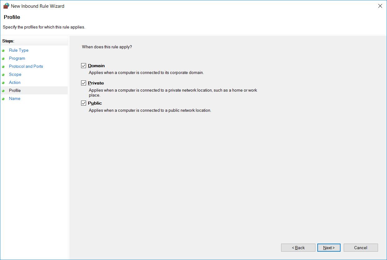 انتخاب پروتکل در Windows Firewall برای رول ایجاد شده