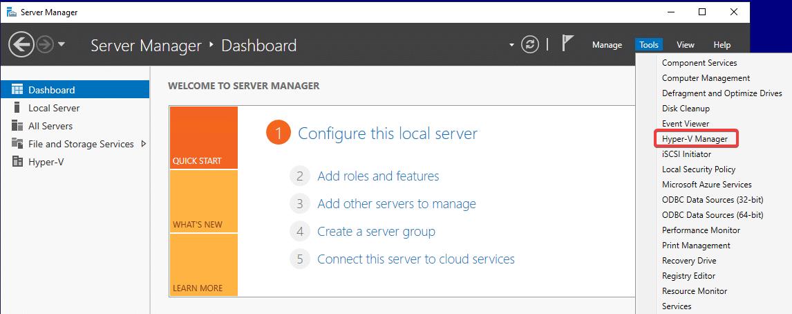 پیدا کردن هایپر وی منیجر در Server Manger و منوی Tools