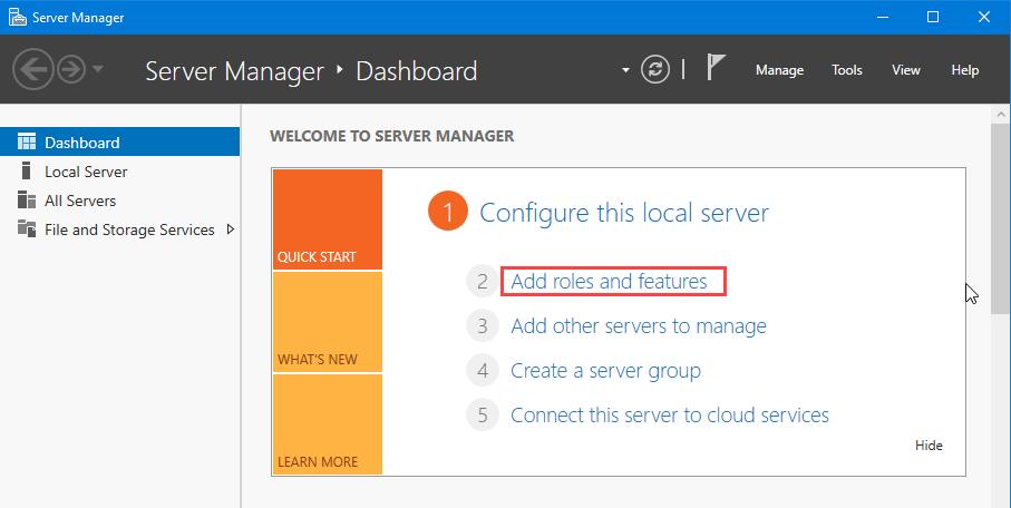 کلیک بر روی Add roles and Features در نصب Active Directory Domain Services