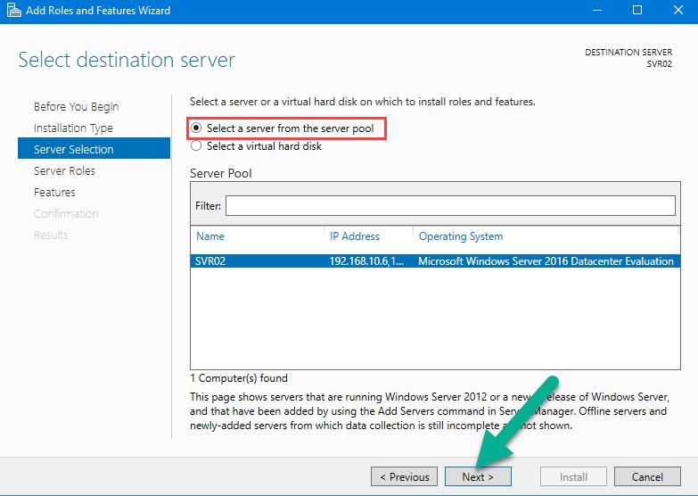 انتخاب سرور مورد نظر از server pool