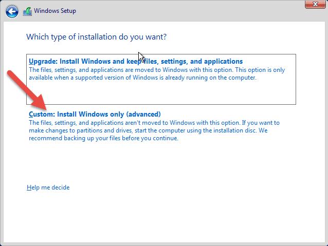 نصب ویندوز سرور 2016 بصورت custom