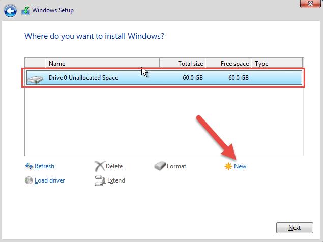 انتخاب هارد دیسک برای نصب ویندوز سرور