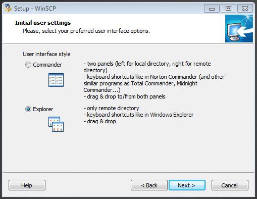 در پنجره initial user setting، ترجیحا گزینه explorer را به عنوان رابط کاربری انتخاب کنید