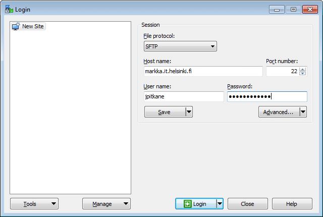 Login کردن WinSCP