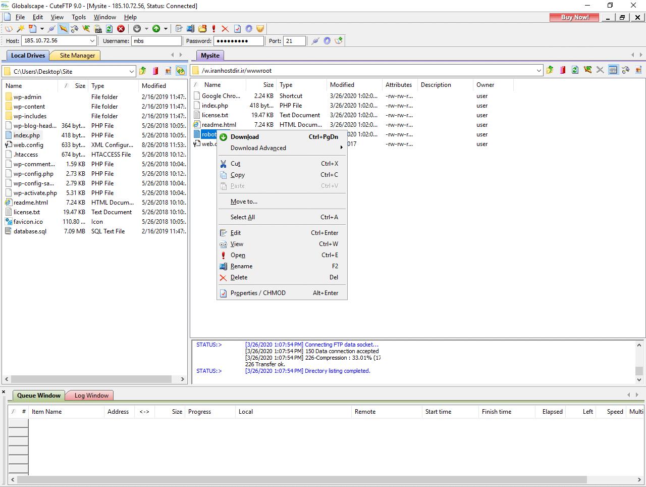 گزینه های موجود در فایل در CuteFTP