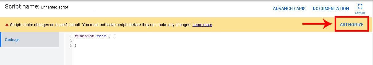 برای افزودن اسکریپت به اکانت گوگل ادز، بایستی به اسکریپت اجازه دسترسی به اکانت داده شود