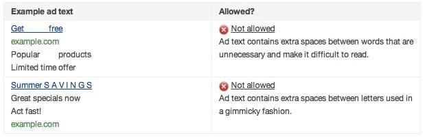 فاصله غیر استاندارد بین حروف، یکی از دلایل عدم تائید متن تبلیغ از سوی گوگل