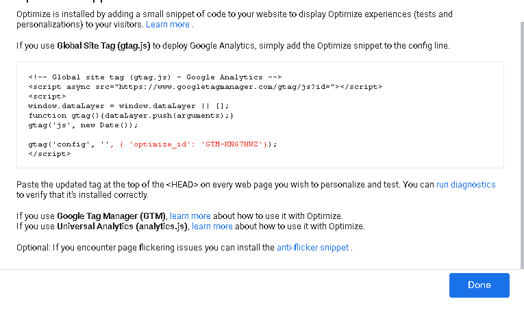 کد ارسال برای شروع گوگل آپتیمایز