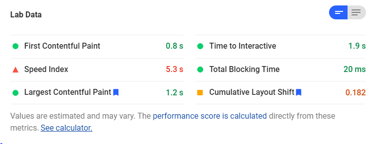 Lab Data - آموزش بهبود رتبه سایت در Page Speed Insights Google