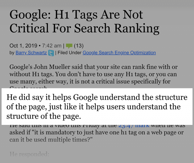 استفاده از تگ h1 برای عنوان اصلی مقاله