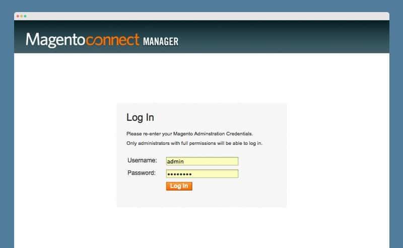 login صفحه مدیریت مجنتو