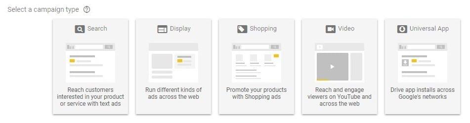 انتخاب گزینه Universal App در گوگل ادز