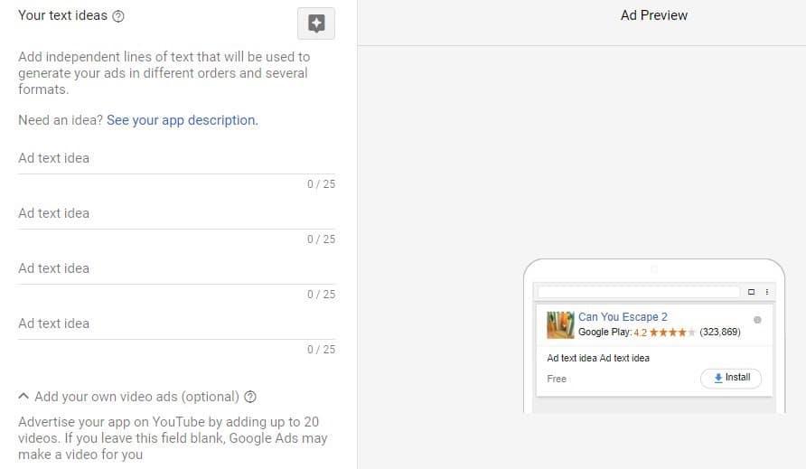 اضافه کردن عنوان های تبلیغاتی در کمپین Universal app در گوگل ادز