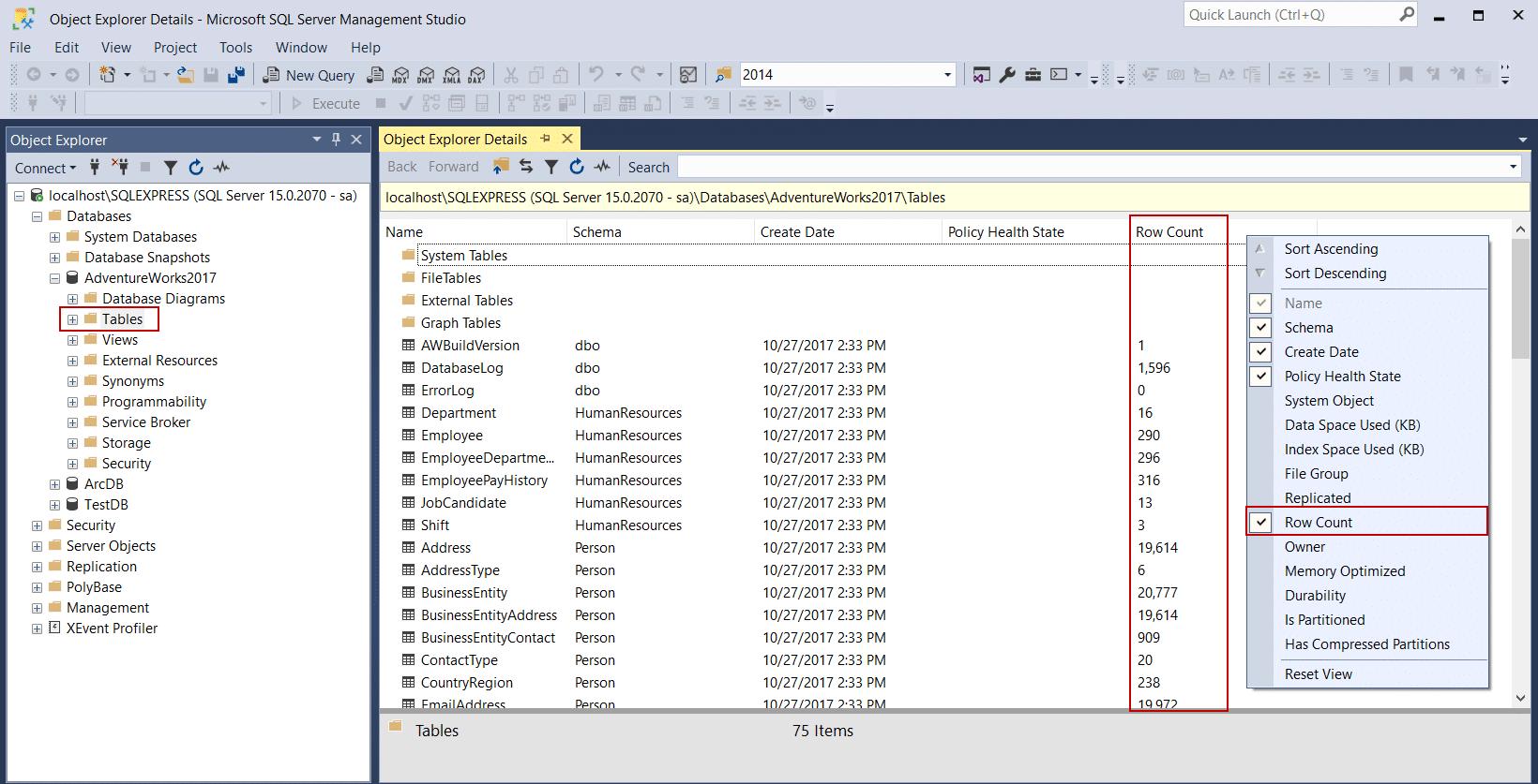 جزئیات جداول در object explorer