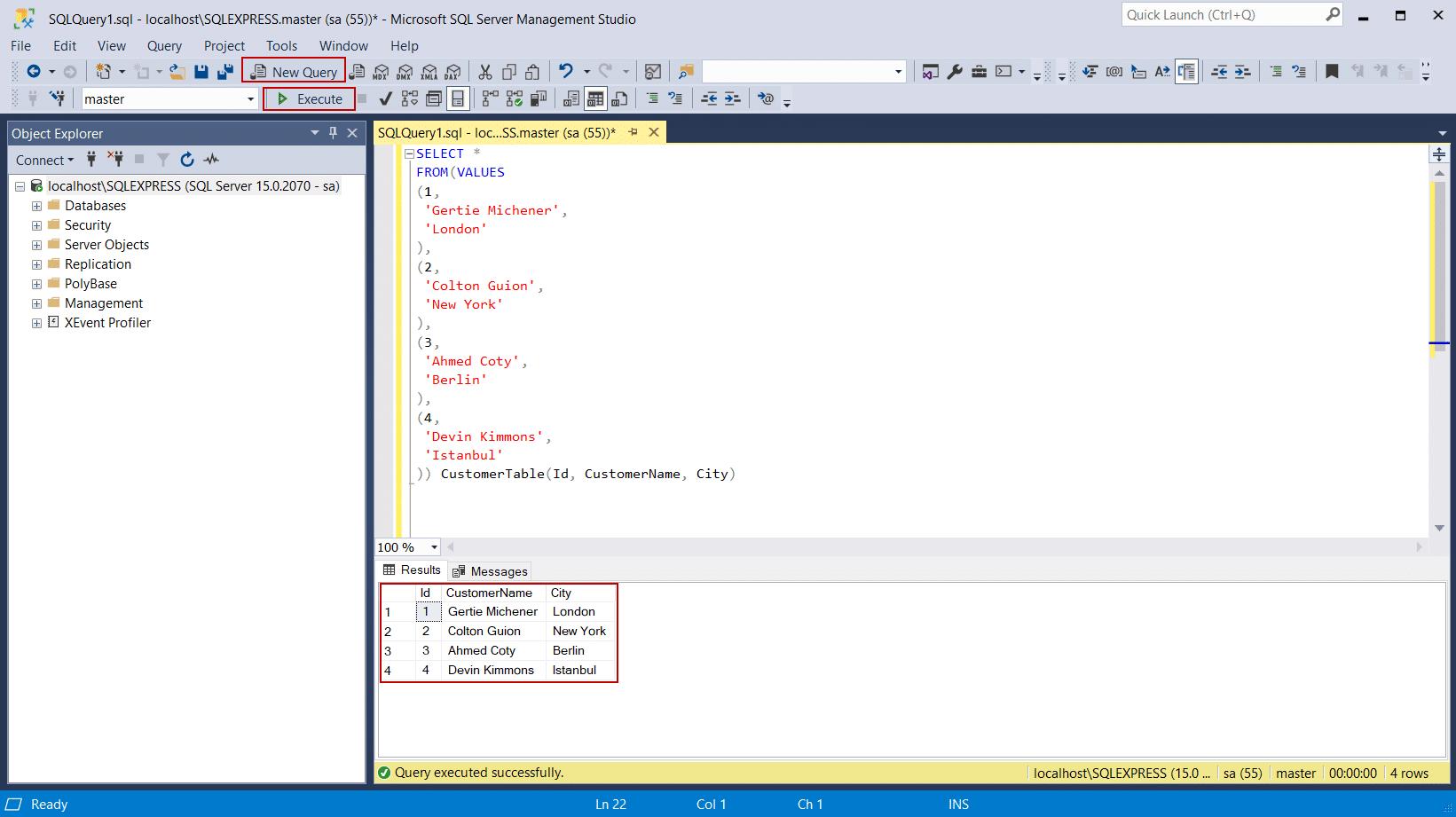 ویرایشگر Query در Microsoft SQL Server Management