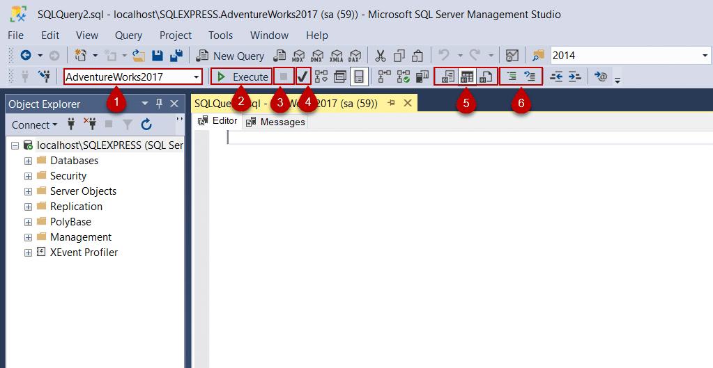 پس از فعالسازی گزینه Display results in a separate tab می توانید ابزار های ویرایشگر SQL را مشاهده کنید