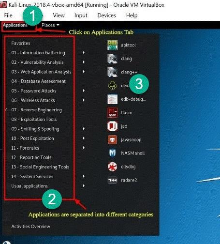 بخش Applications در کالی لینوکس