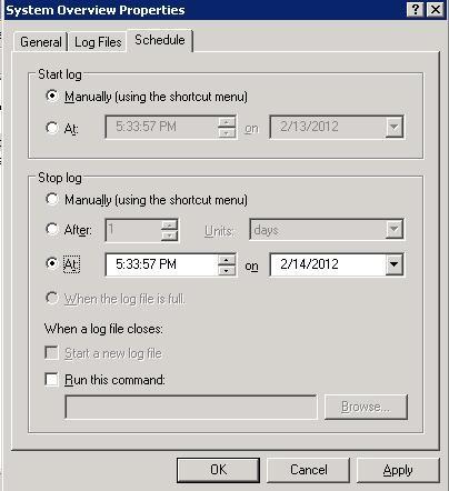 تب Schedule در Windows Server 2003